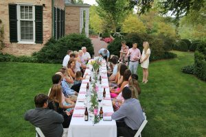 Long table outside for gathering