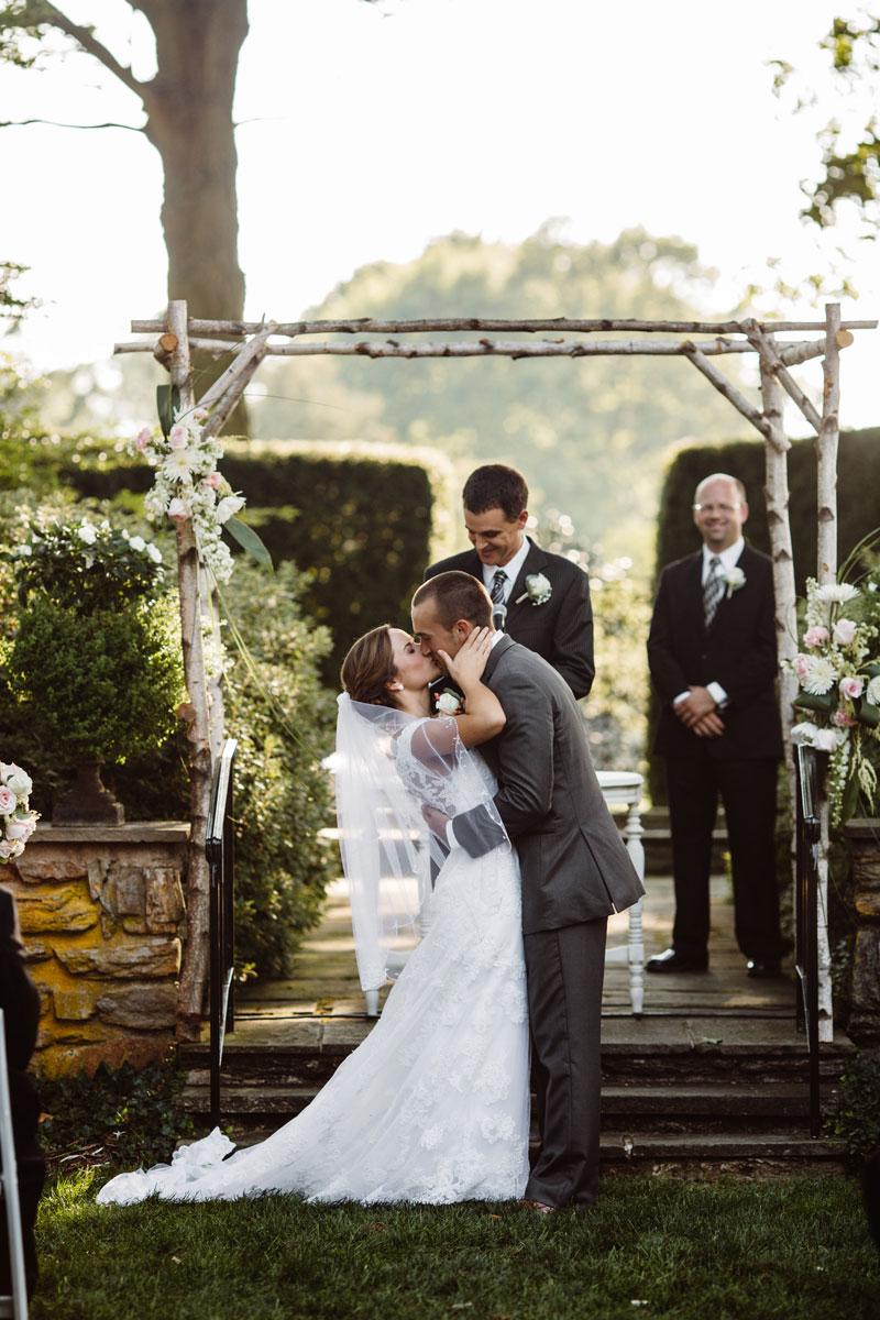 Kiss - Garden Wedding Ceremony - Drumore Estate