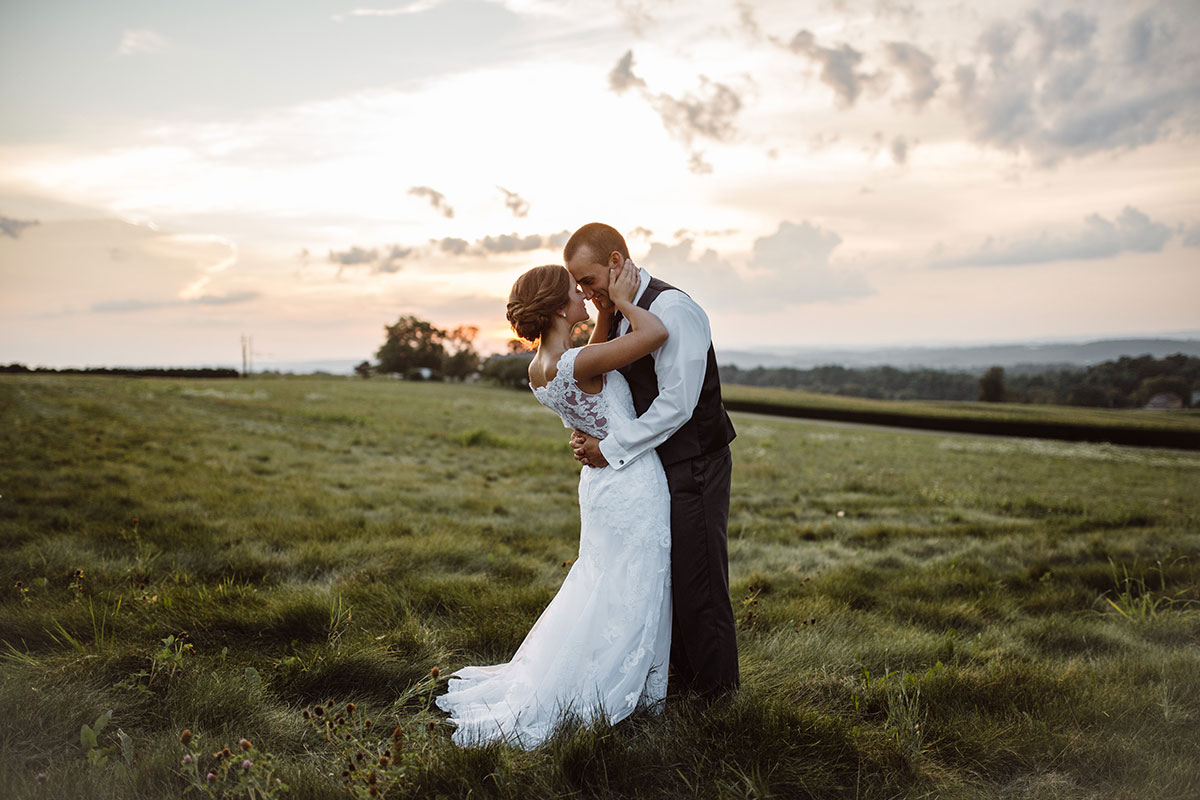 Bride & Groom at Sunset - Wedding Day Pictures - Drumore Estate Lancaster PA
