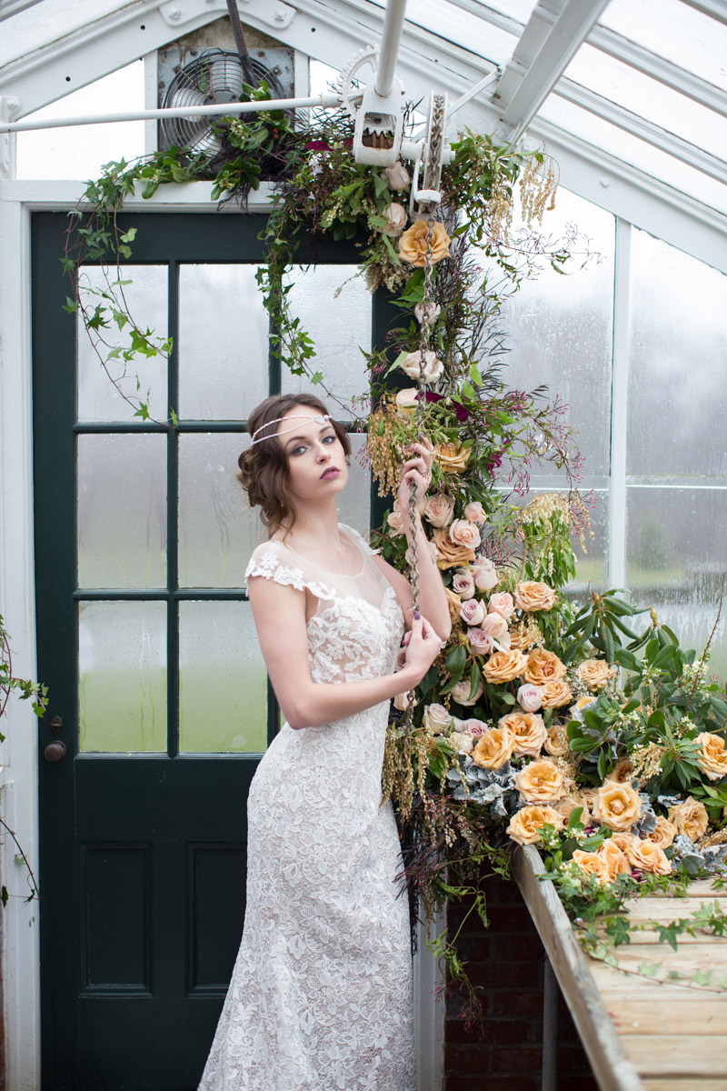 Wedding photos in a greenhouse