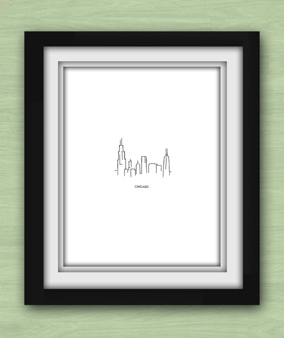 Chicago skyline sketch for custom wedding guest book ideas