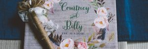 Personalized floral wedding guest book
