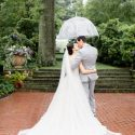 Rainy day in the formal garden during a wedding day