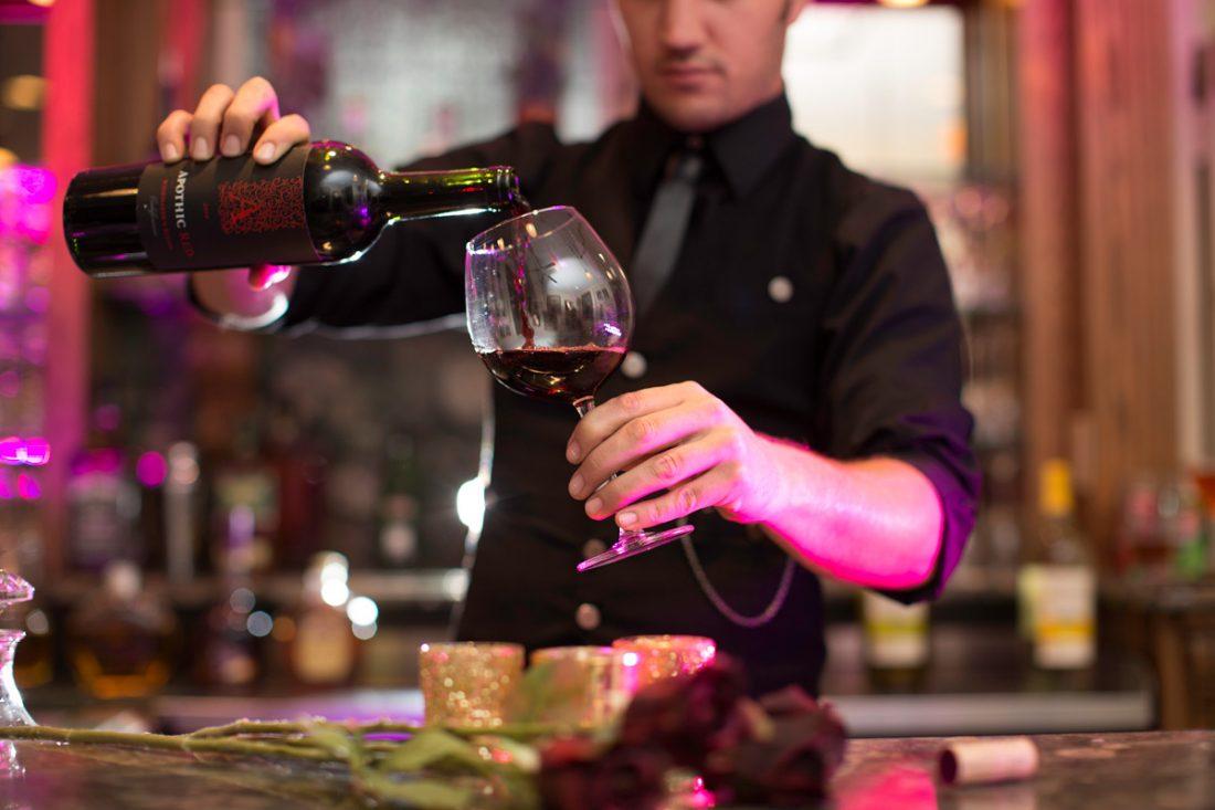 bartender pouring wine drumore estate