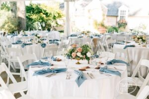 Wedding Guest Tables Decorated with Blue Accents