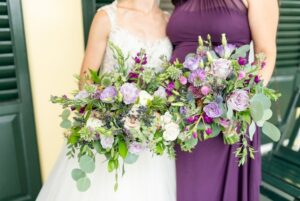 Bridesmaid Wearing Purple Dress
