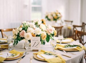 Wedding Reception Table with Yellow Napkins